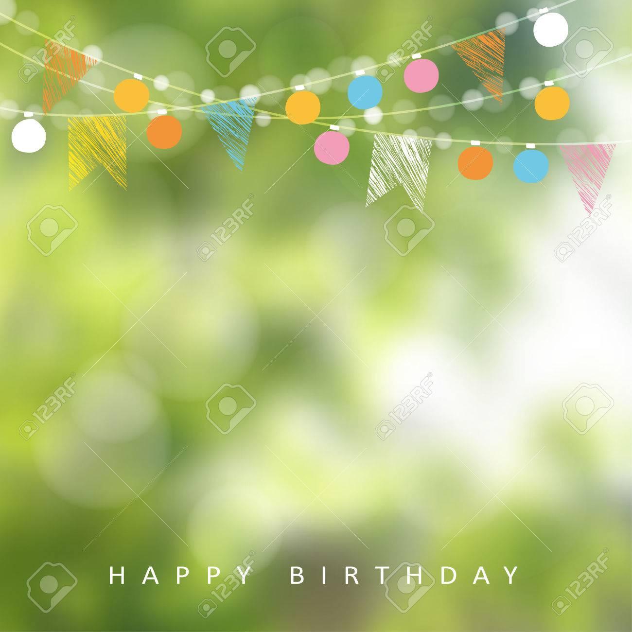 庭の誕生日パーティーやブラジル 6 月パーティー ライト 党旗 背景をぼかした写真のガーランド イラストのイラスト素材 ベクタ Image