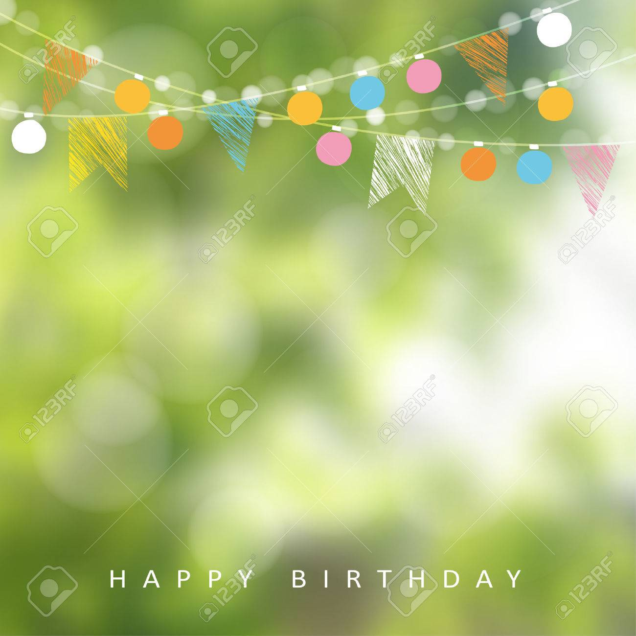 Birthday garden party or Brazilian june party, illustration with garland of lights, party flags and blurred background - 53580285