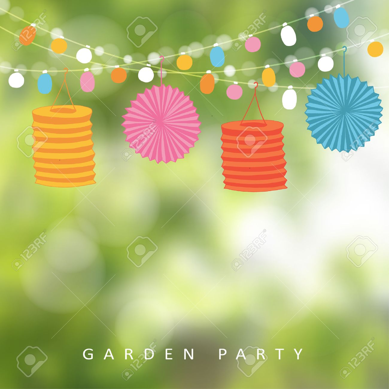 Birthday garden party or Brazilian june party, illustration with string of lights, paper lanterns and blurred background - 55950421