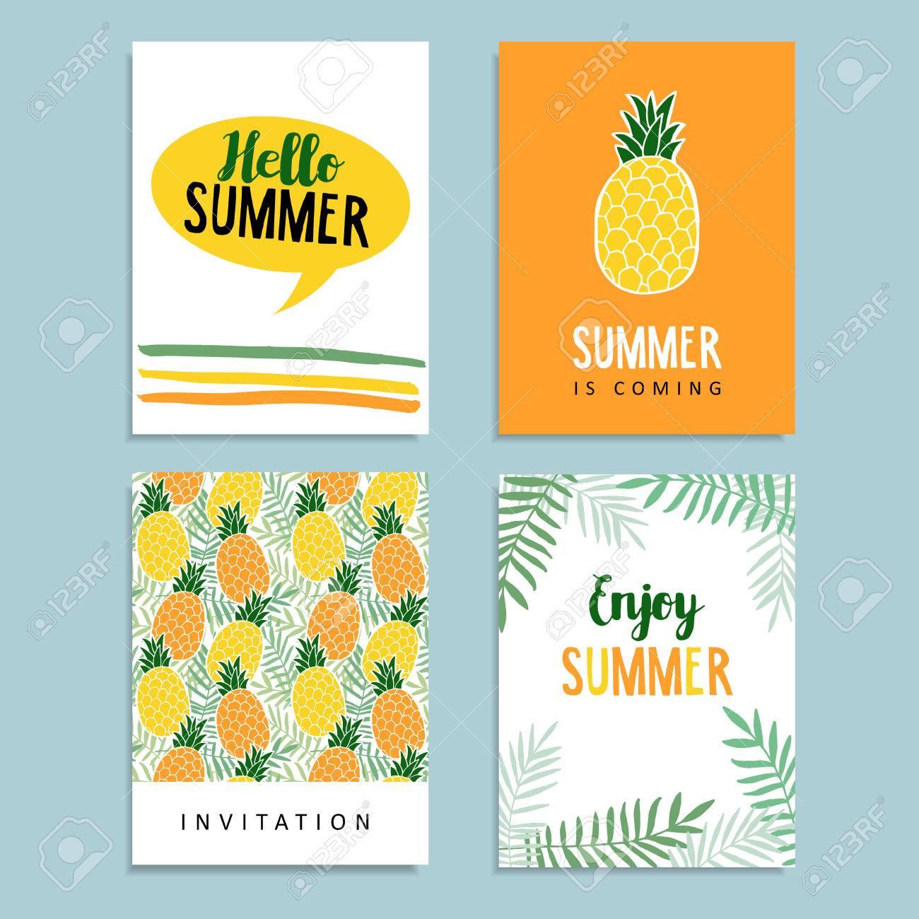 Jeu De Cartes De Voeux D Ete Cartes Journaling Invitation D Anniversaire Ananas Fruits Feuilles De Palmier De Fond Design Plat Tropical