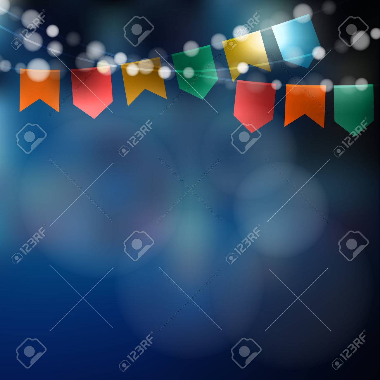 Brazilian june party. Festa junina. String of lights, party flags. Party decoration. Festive night, blurred background. - 56757131