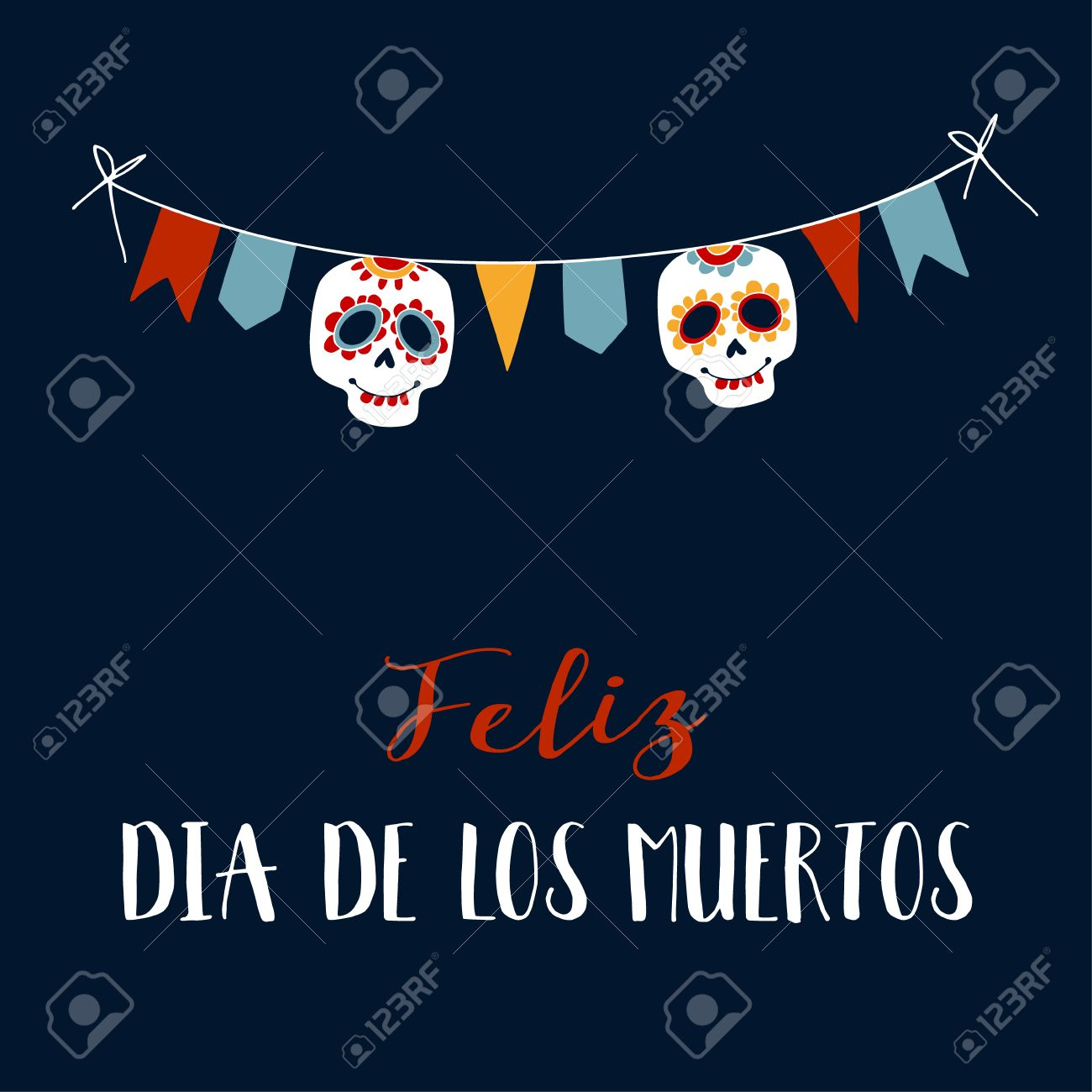 Feliz Dia de los Muertos greeting card, invitation. Mexican Day of the Dead. String decoration with party flags, ornametal sugar sculls. Hand drawn vector illustration, background. - 62180094