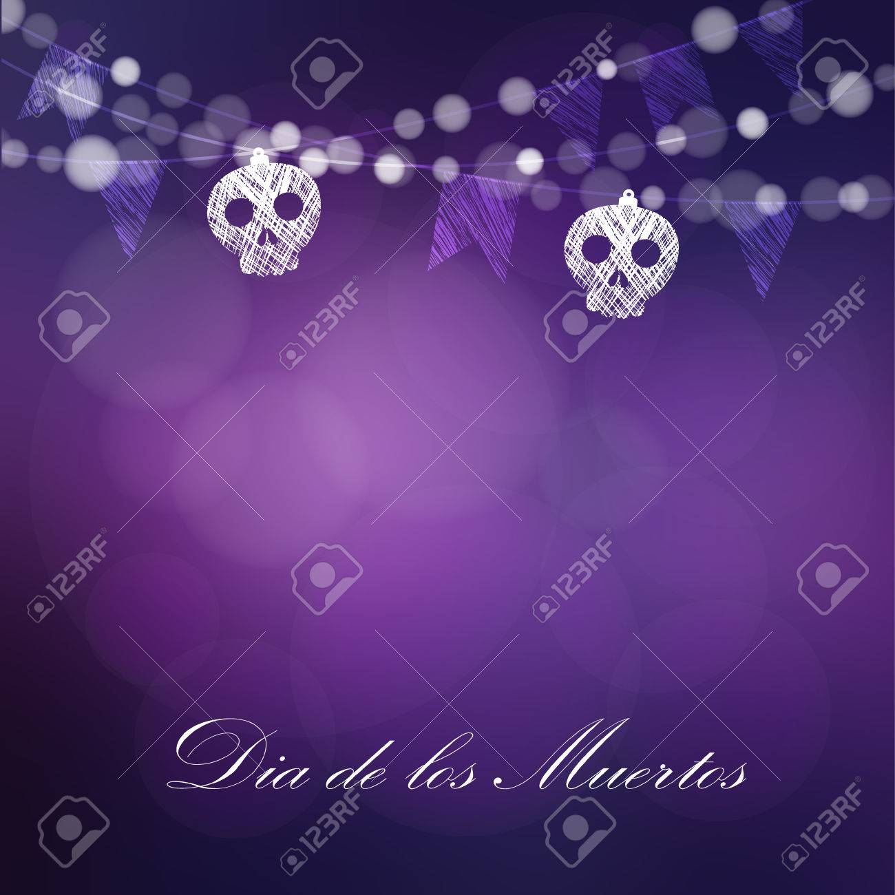 Dia de Los Muertos, Day of the Dead or Halloween card, invitation. String of lights, sculls and party flags. Vector illustration background - 62180097