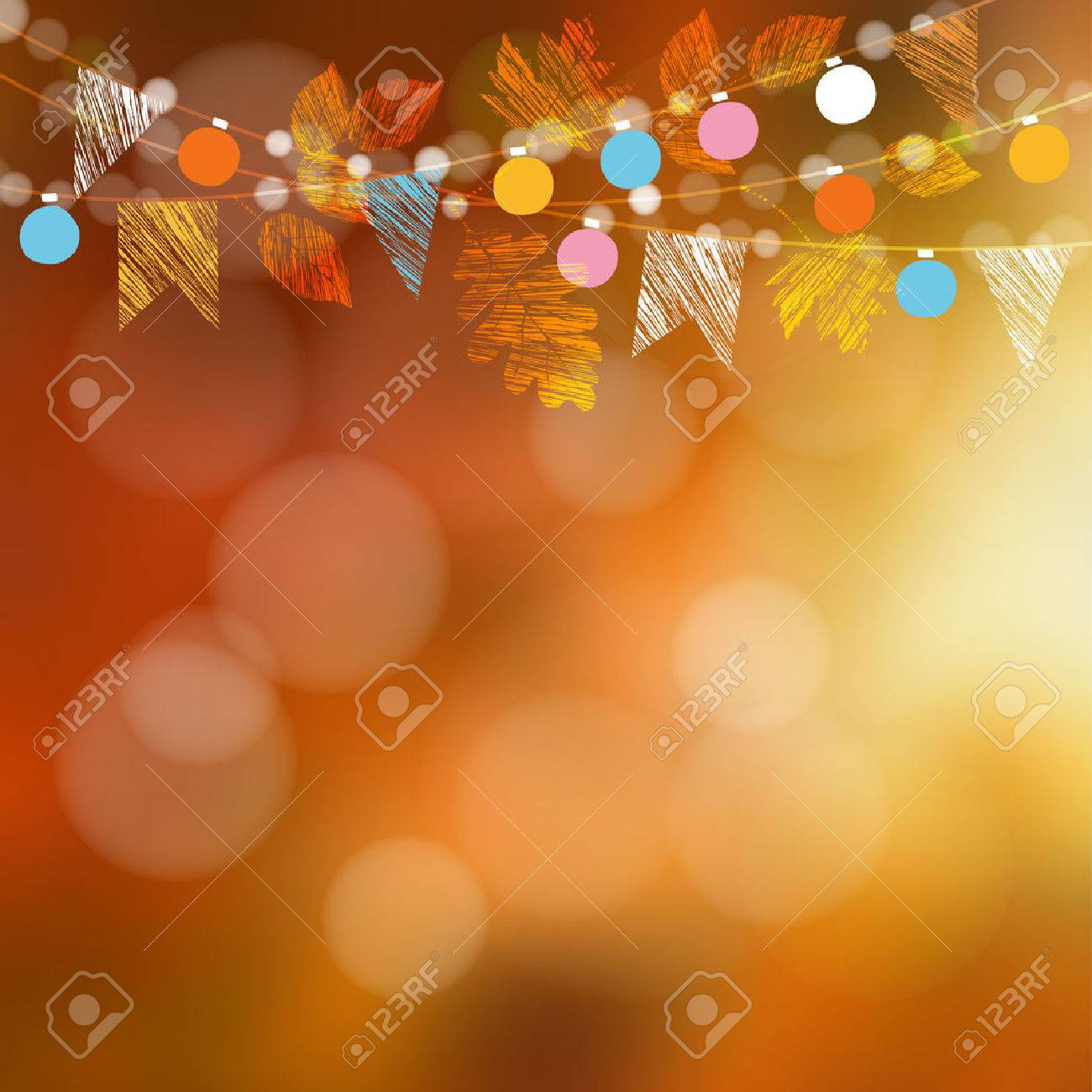 Autumn fall card, banner. Garden party decoration. Garland of oak, maple leaves, lights, party flags.Vector blurred illustration background. - 63000403