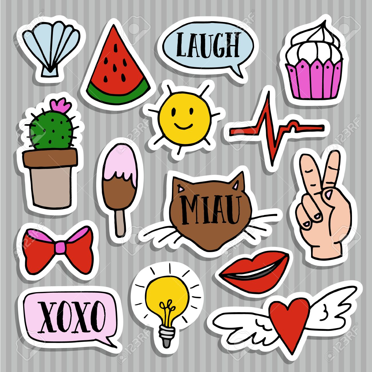 Set of fashion patches, badges, pins and stickers. Cool trendy hand drawn design. Isolatedvector objects - 63000407
