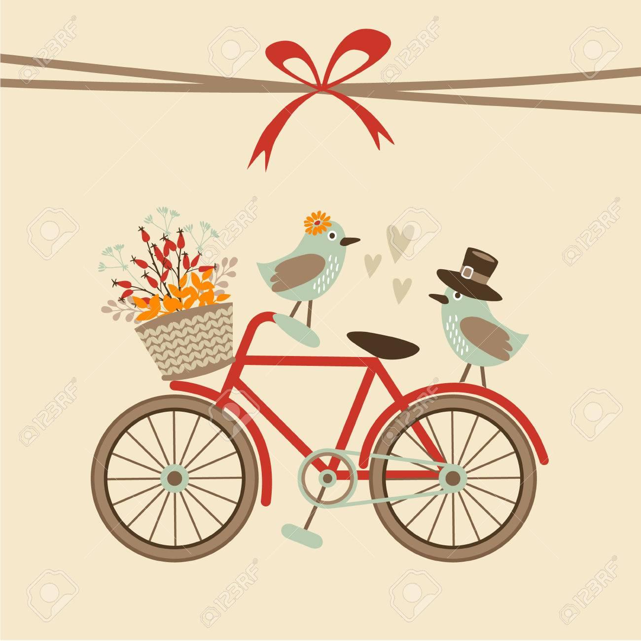 Nette Retro Hochzeit, Geburtstag, Baby Dusche Karte, Einladung. Fahrrad Und