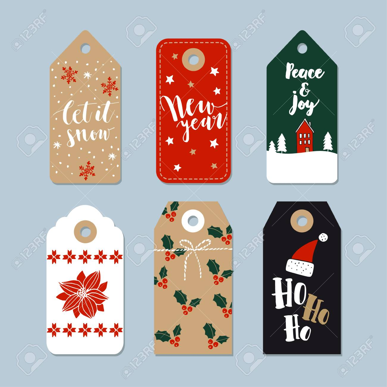 Vintage Christmas Gift Tags Set. Hand Drawn Labels With Lettering ...