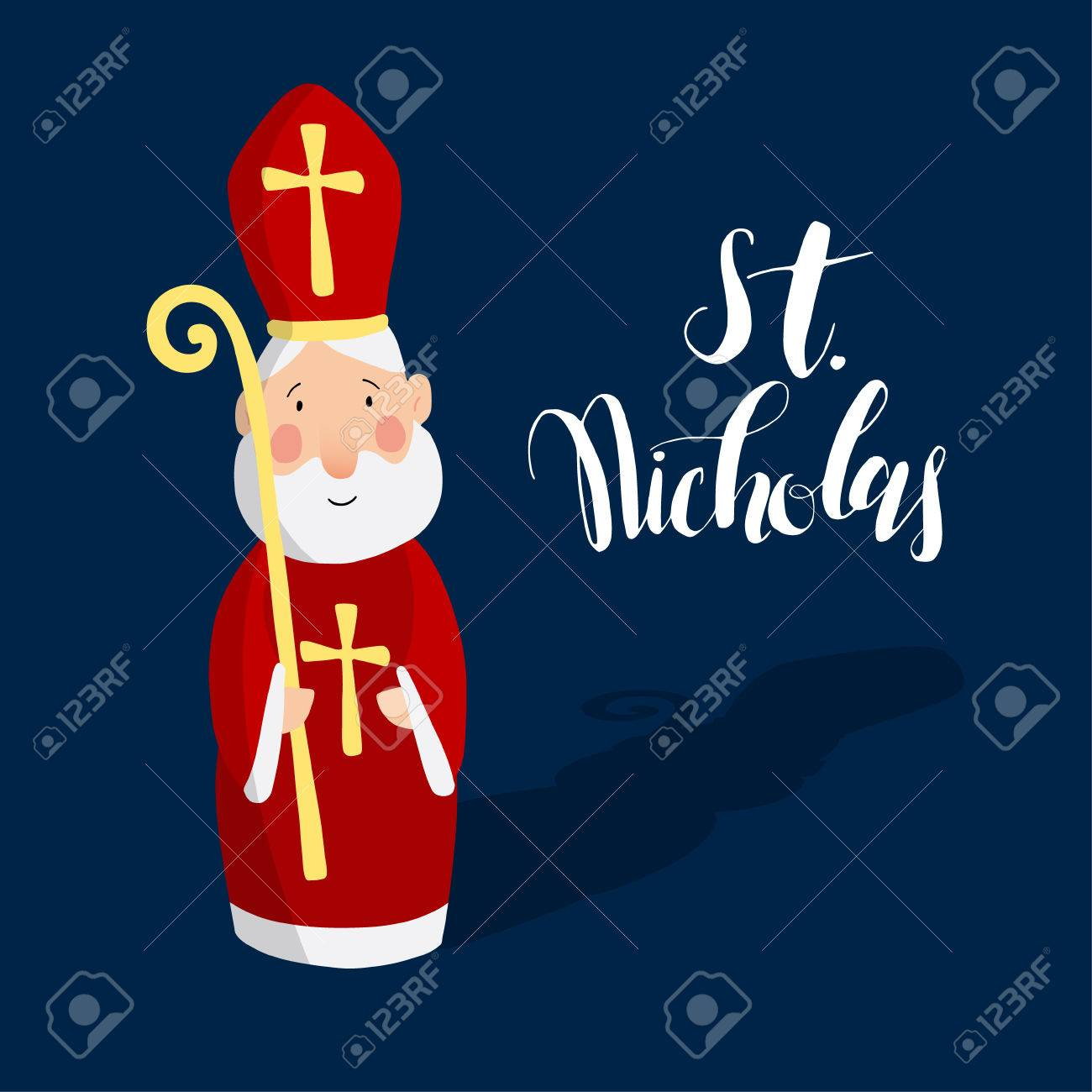 Cute greeting card with Saint Nicholas with mitre and pastoral staff. European winter tradition. Hand-lettered text. Flat design, vector illustration. - 66323177