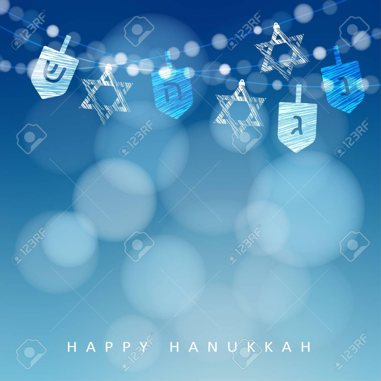 Hanukkah blue background with string of lights, dreidels and jewish stars. Festive party decoration. Modern blurred vector illustration for Jewish Festival of light. - 66323251