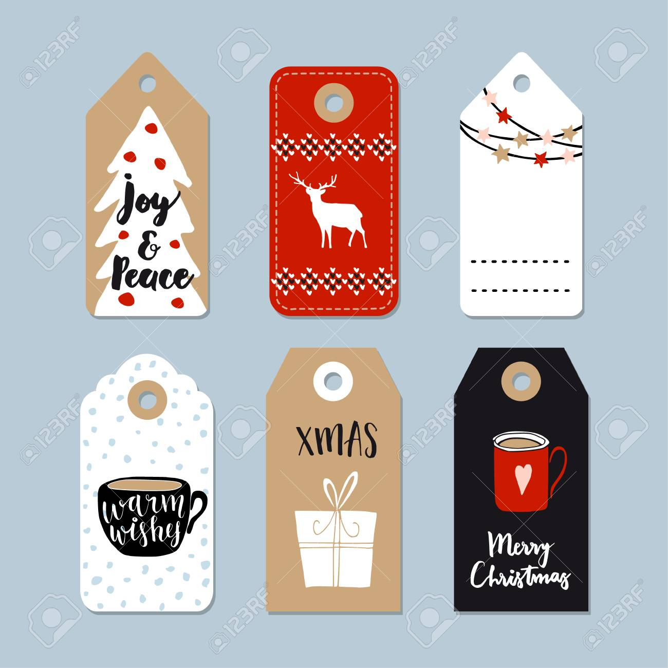 Vintage Christmas Gift Tags Set. Hand Drawn Labels With Christmas ...