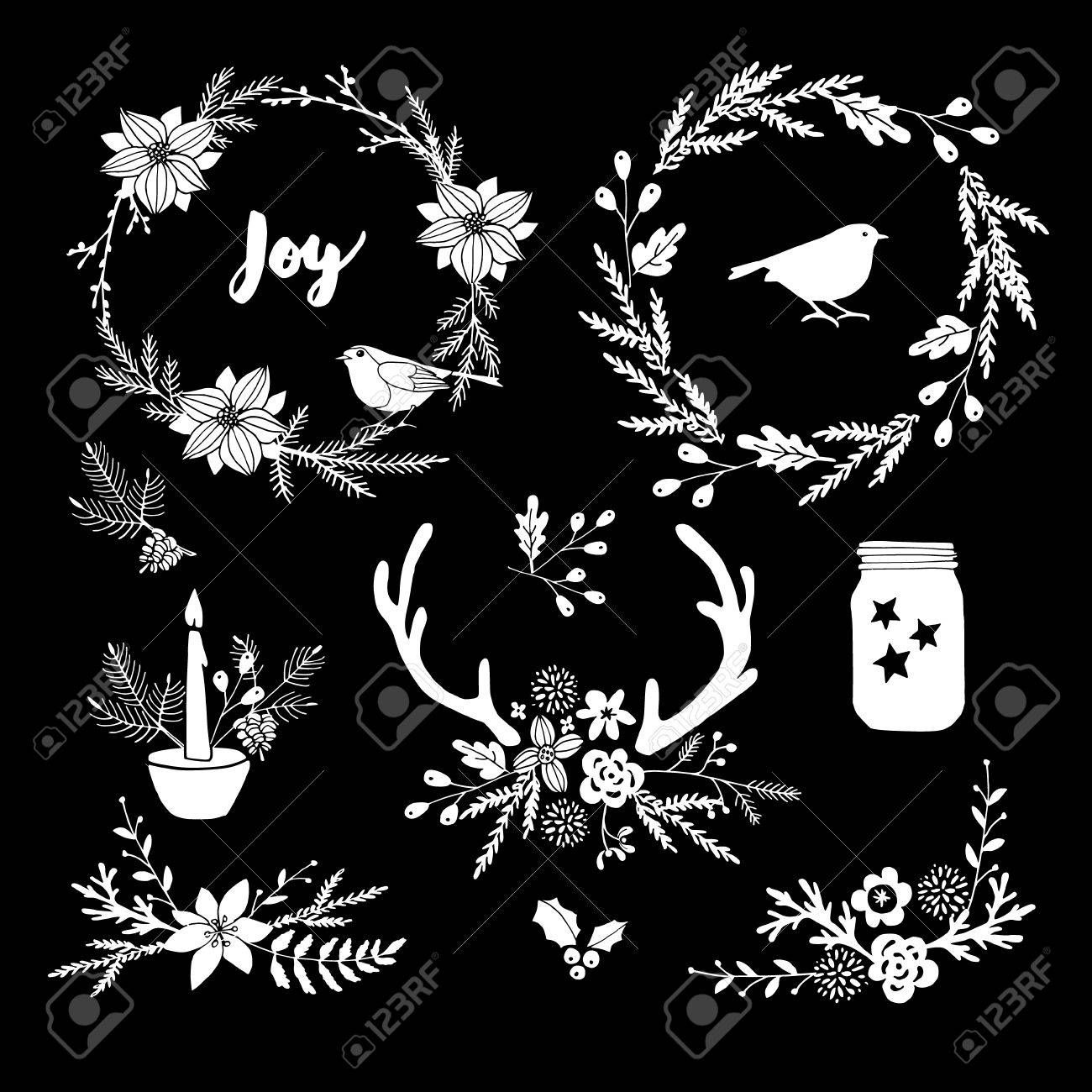 Set of white chalk flowers, leaves, wreath and branches on blackboard. Isolated Christmas floral elements and decorations. Hand drawn vector illustrations. - 66323263