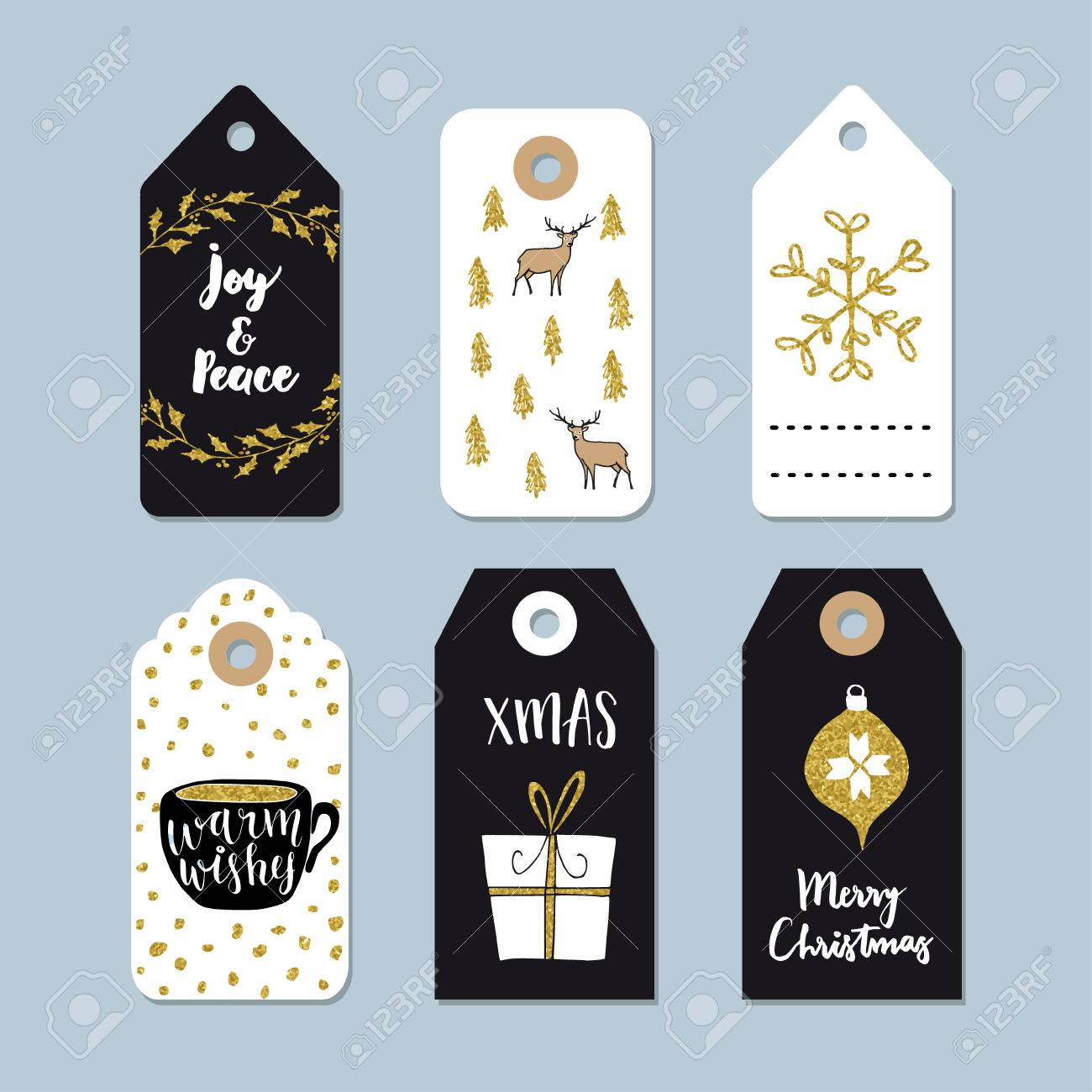 Vintage Christmas Gift Tags Set. Hand Drawn Labels With Golden ...