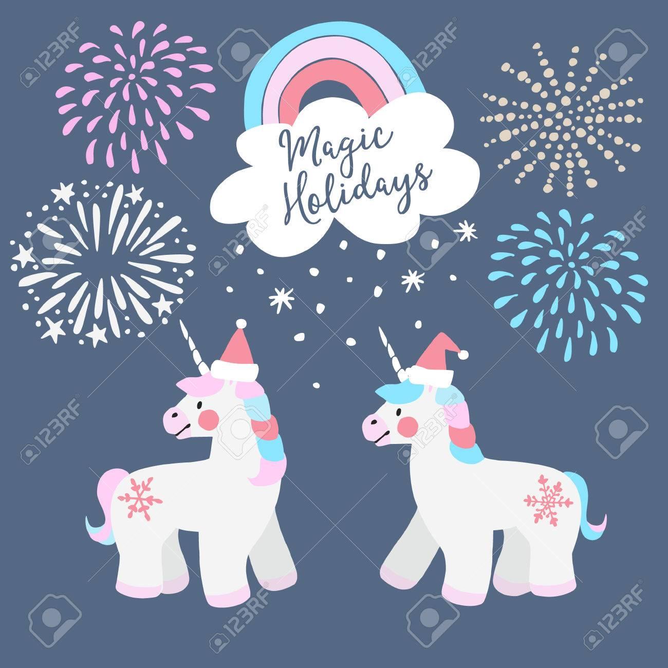 e226012e1f7a Carte De Voeux De Noël Mignon, Invitation. Petits Licornes Avec Chapeaux De Père  Noël, Arc En Ciel Et Des Chutes De Neige. éléments De Conte De Fées De Fête  ...