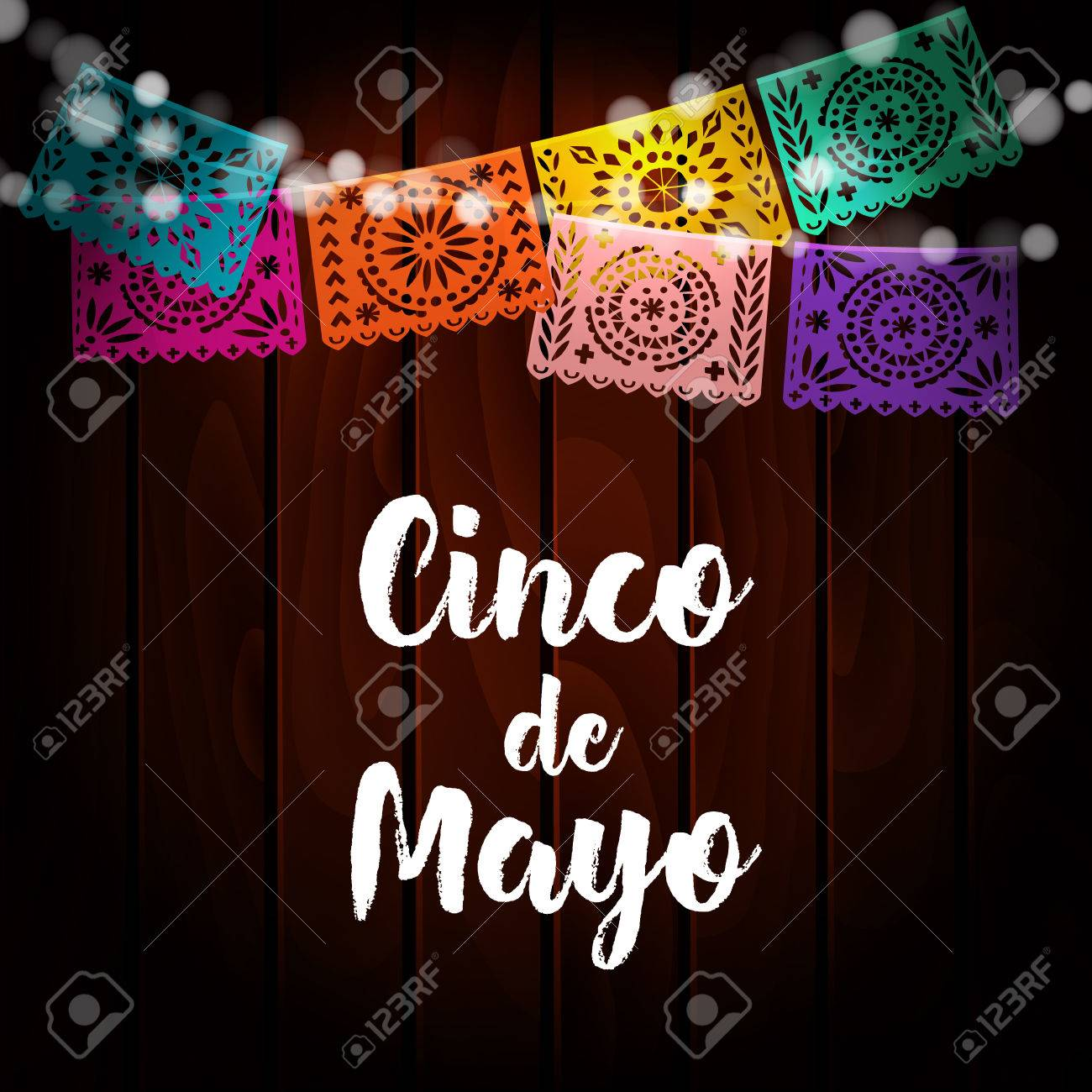 Mexican Cinco de Mayo greeting card, invitation. Party decoration, string of lights, handmade cut paper flags. Old wooden background. Vector illustration. - 74831946