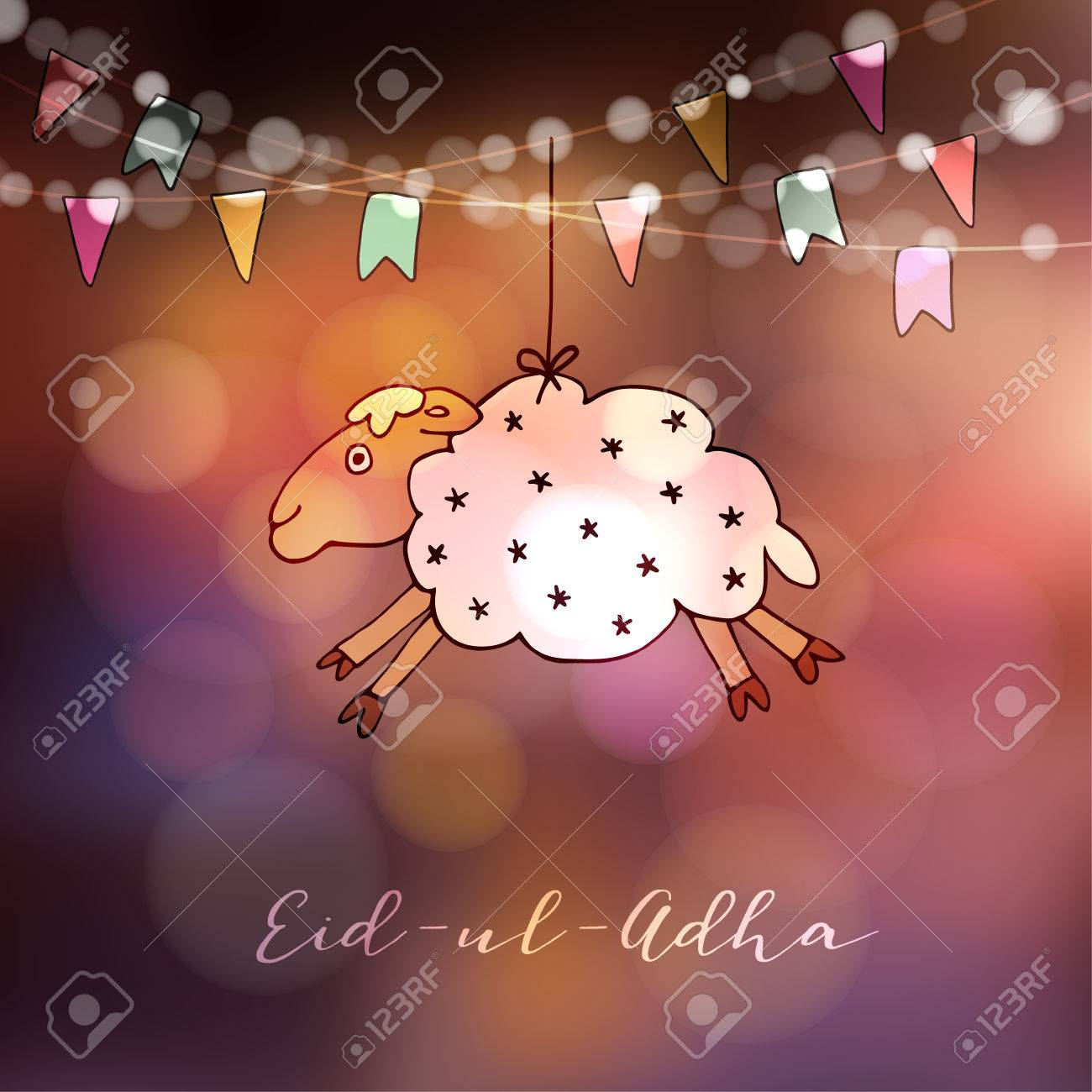 Eid Ul Adha Greeting Card With Hand Drawn Sheep And Party Flags