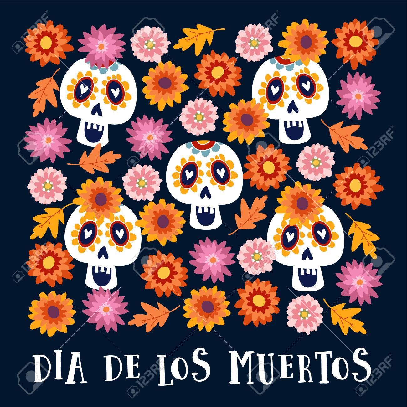 dia de los muertos or halloween greeting card invitation mexican