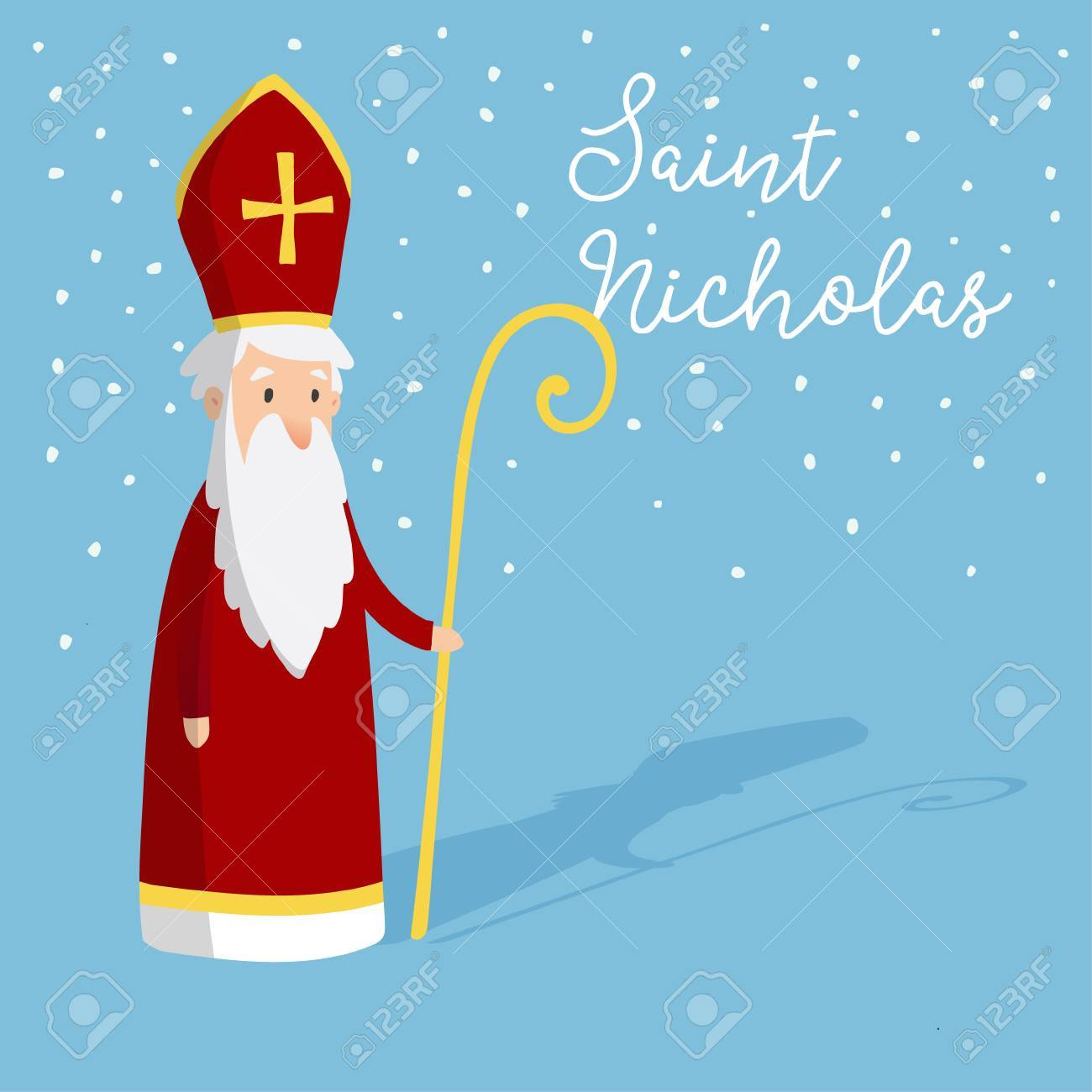 Cute Greeting Card With Saint Nicholas With Mitre And Pastoral
