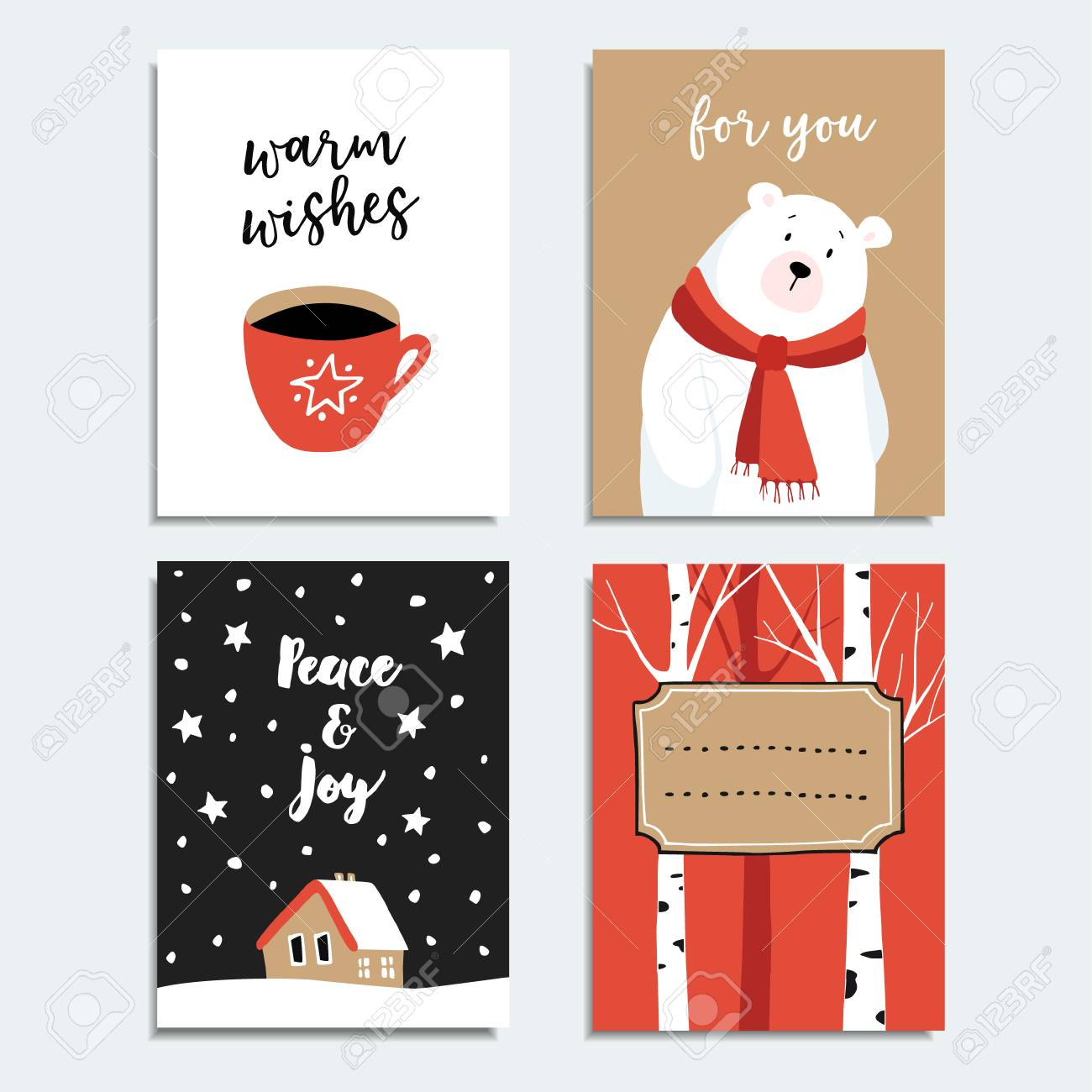 Coffee Christmas Cards.Set Of Hand Drawn Christmas Greeting Cards Invitations With