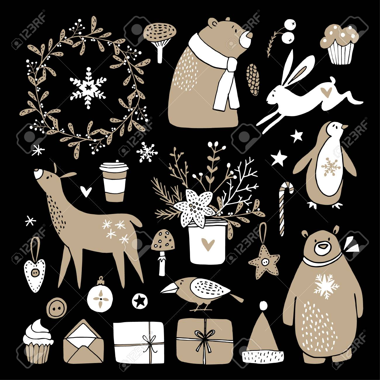 Set of cute doodle sketches  Christmas clip-arts of bear, bunny,