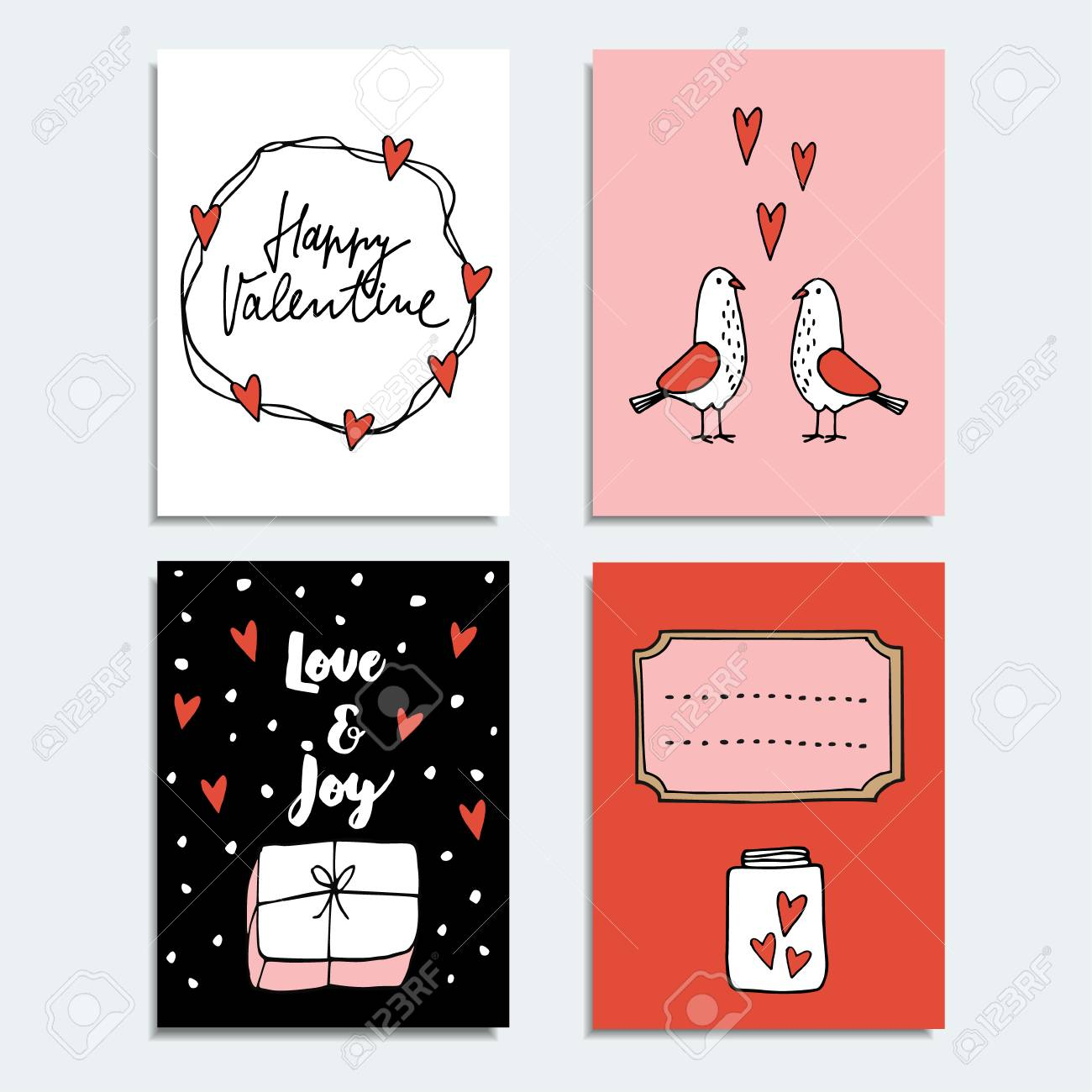 Set Of Cute Hand Drawn Valentines Day Or Wedding Cards, Invitations ...