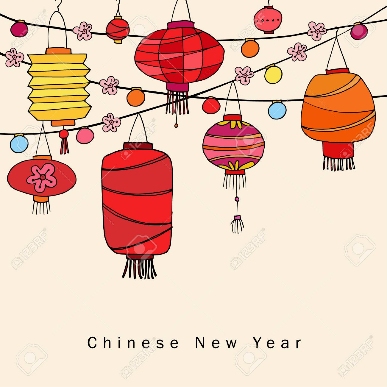 chinese new year greeting card invitation with string of hand drawn red lanterns asian