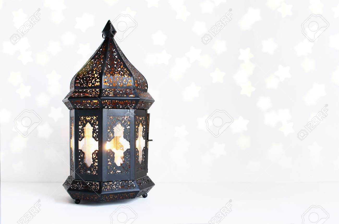 Ornamental Dark Moroccan Arabic Lantern On The White Table Stock Photo Picture And Royalty Free Image Image 97545092