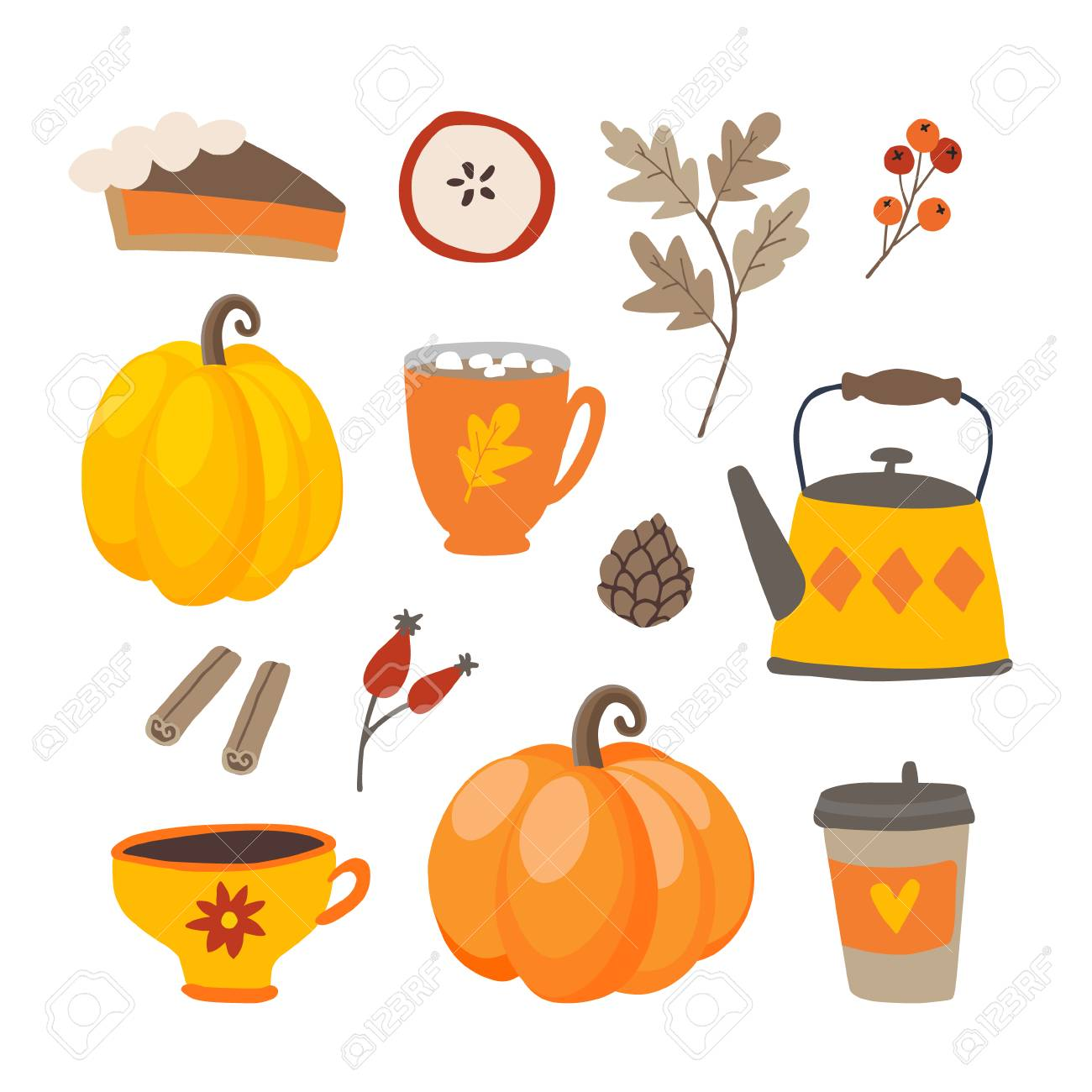 Set of cute cartoon Thanksgiving day icons with pumpkins, pie, coffee, cinnamon spice and oak leaves. Fall season designs, autumn sticker collection. Isolated vector scrapbooking illustrations. - 109818035