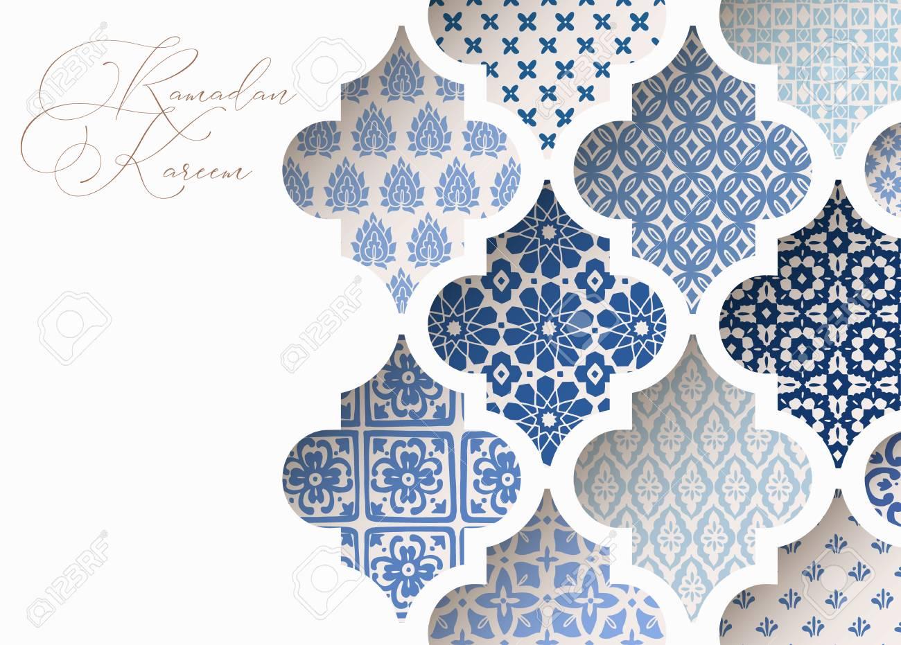 Close-up of blue ornamental arabic tiles, patterns through white mosque window. Greeting card, invitation for Muslim holiday Ramadan Kareem. Vector illustration bacground, web banner, modern design. - 119805633