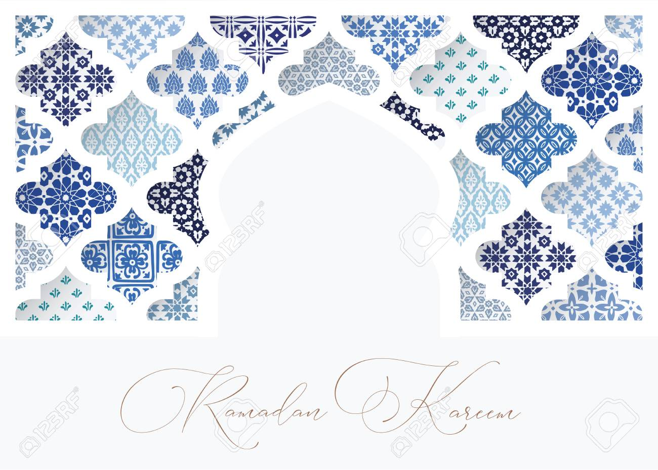 Silhouette of white oranmental mosque window decorated by blue arabic tiles. Greeting card, invitation for Muslim holiday Ramadan Kareem. Vector illustration bacground, web banner. - 120279148