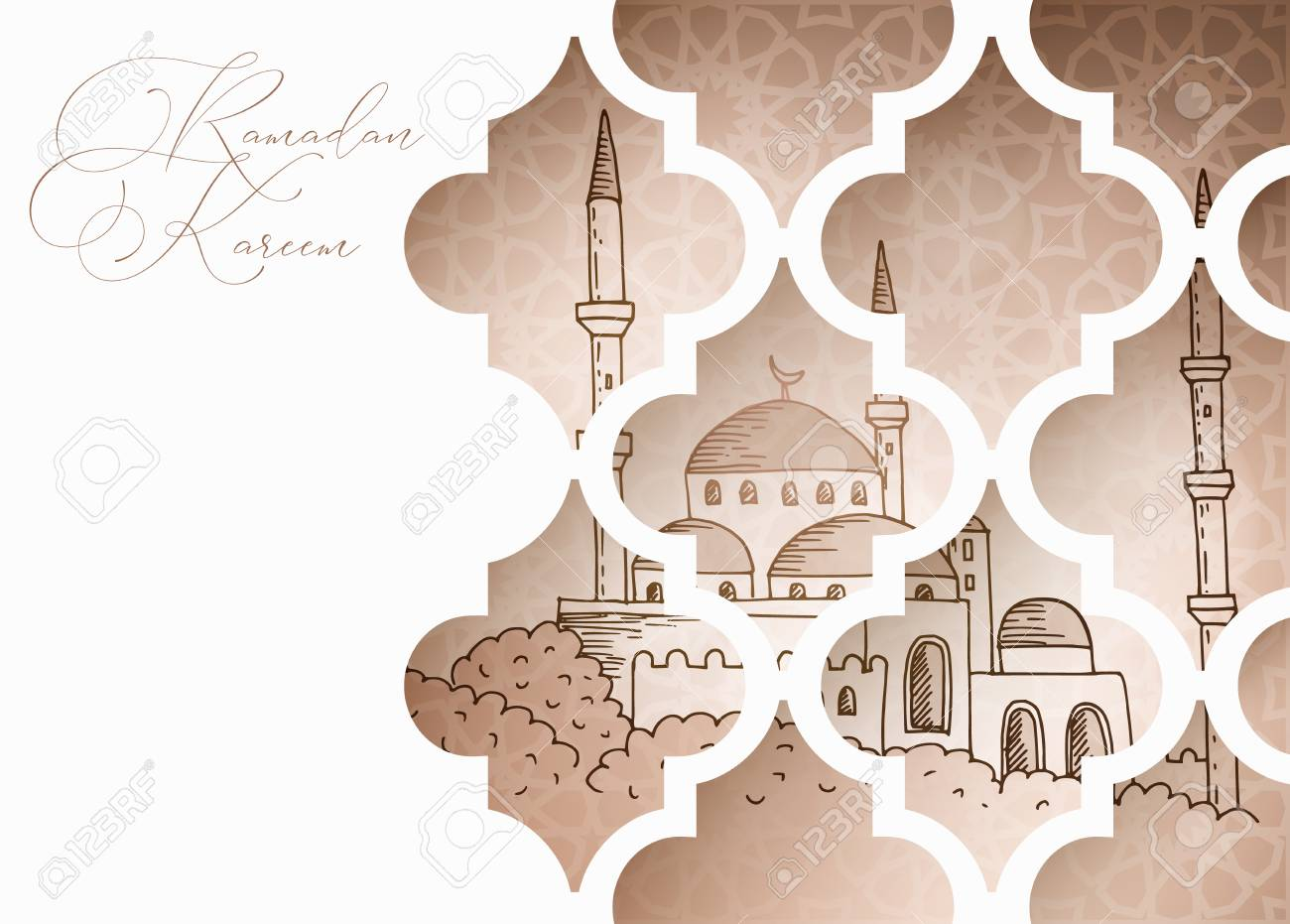 Greeting Card Invitation For Muslim Holiday Ramadan Kareem