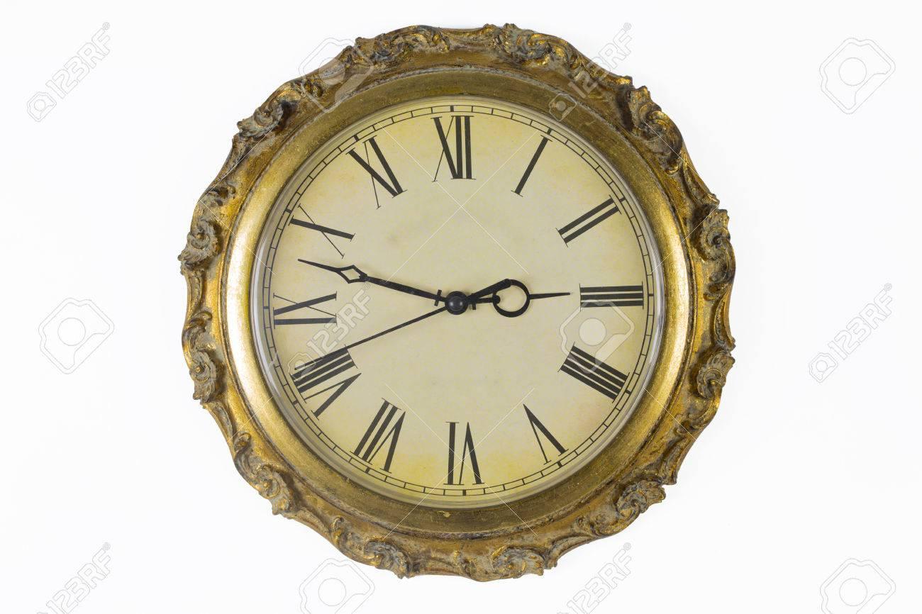 Cara De Reloj Del Reloj De Pared Histórica Con Marco De Oro Fotos ...