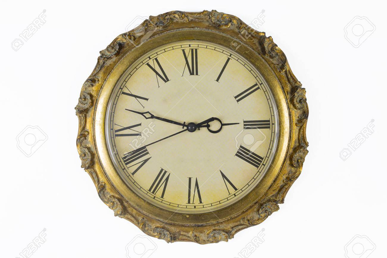 Clock Face Of Historical Wall Clock With Golden Frame Stock Photo ...