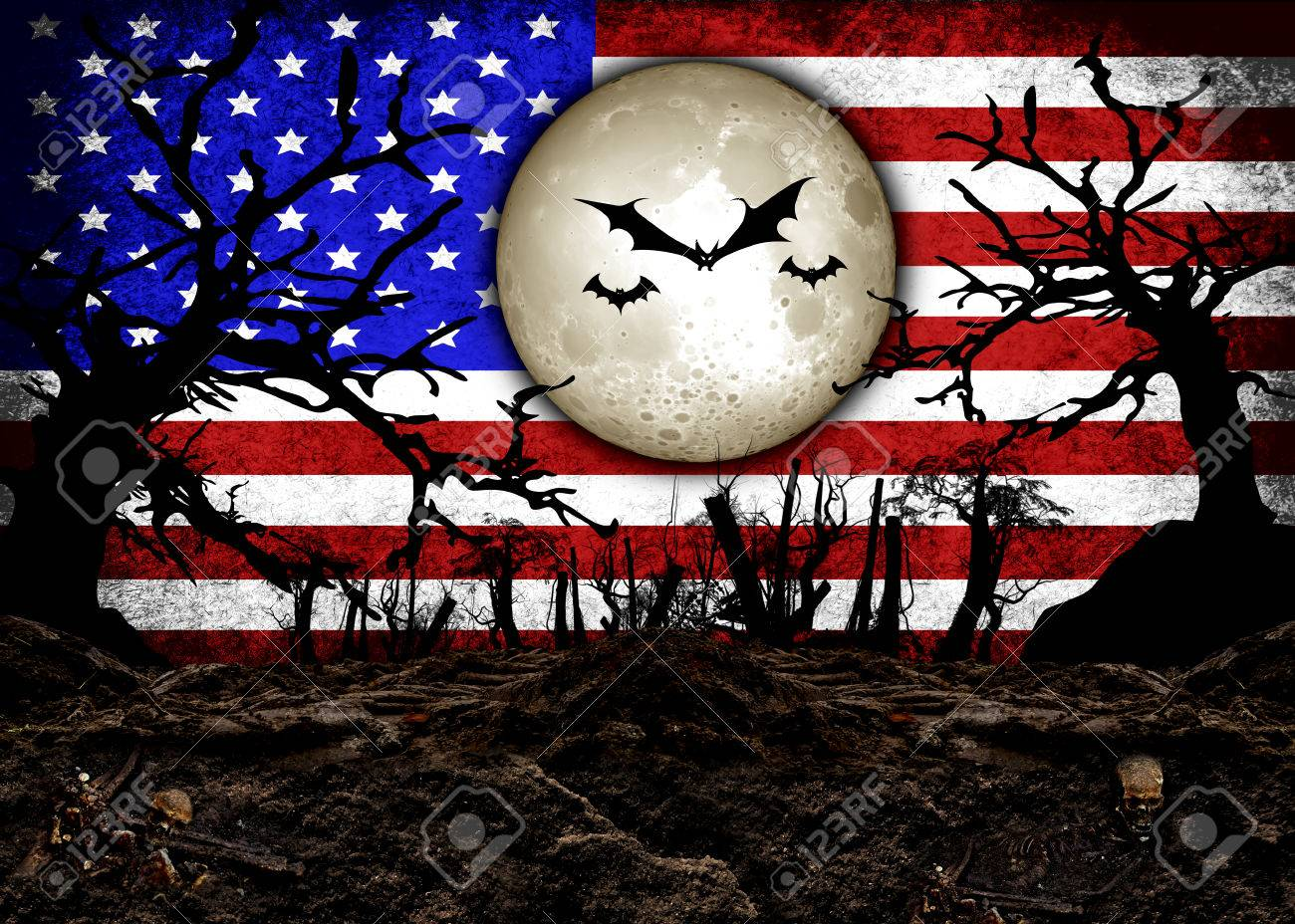Halloween Festival and USA Flag Background Stock Photo , 31510478