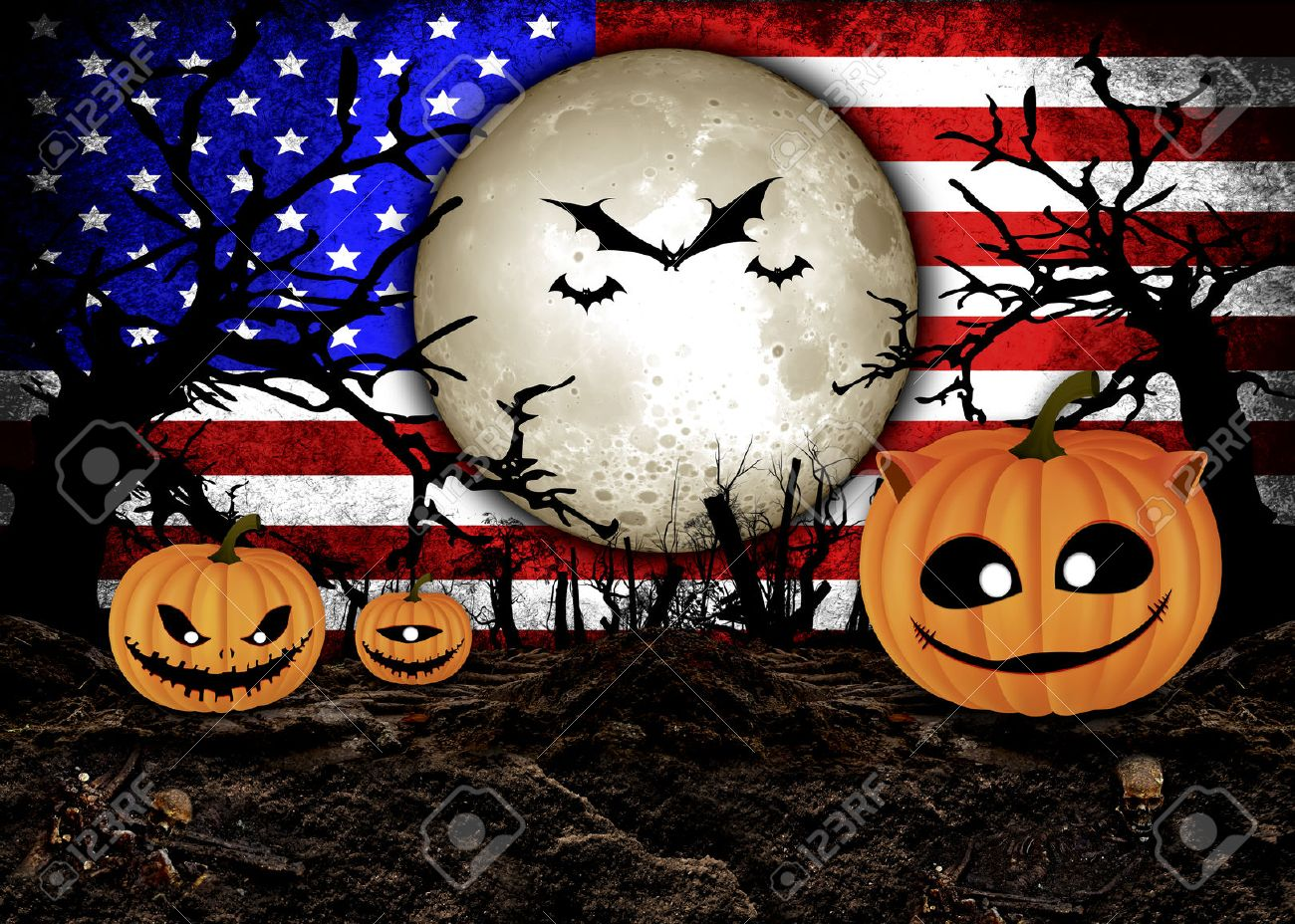 Halloween Festival and USA Flag Background Stock Photo , 31510480