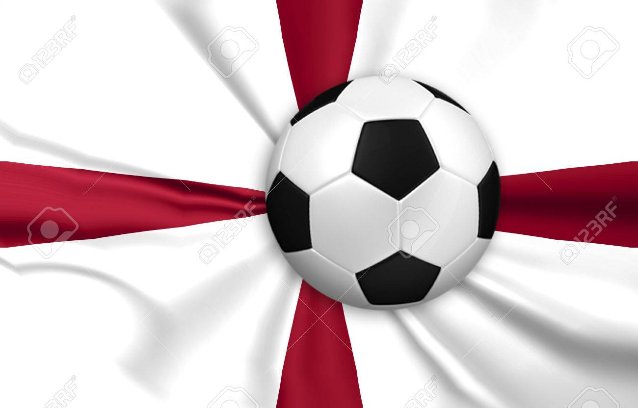 Soccer And Football With England Flag Background Stock Photo ...