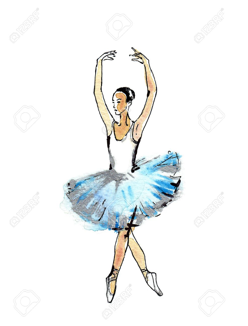 Ballet Dancer Handmade Black And Silver Drawing On A Blue Watercolor Stock Photo Picture And Royalty Free Image Image 49188481