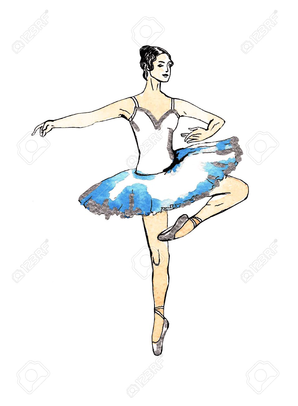 Ballet Dancer Doing Turns Black And Silver Drawing On A Blue Stock Photo Picture And Royalty Free Image Image 51929507