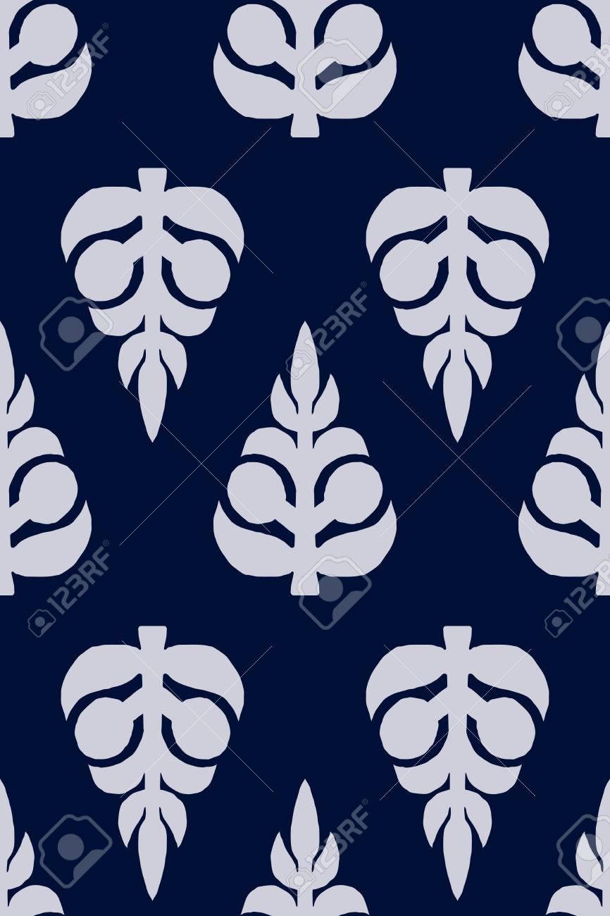 vector seamless pattern block printed floral background handmade