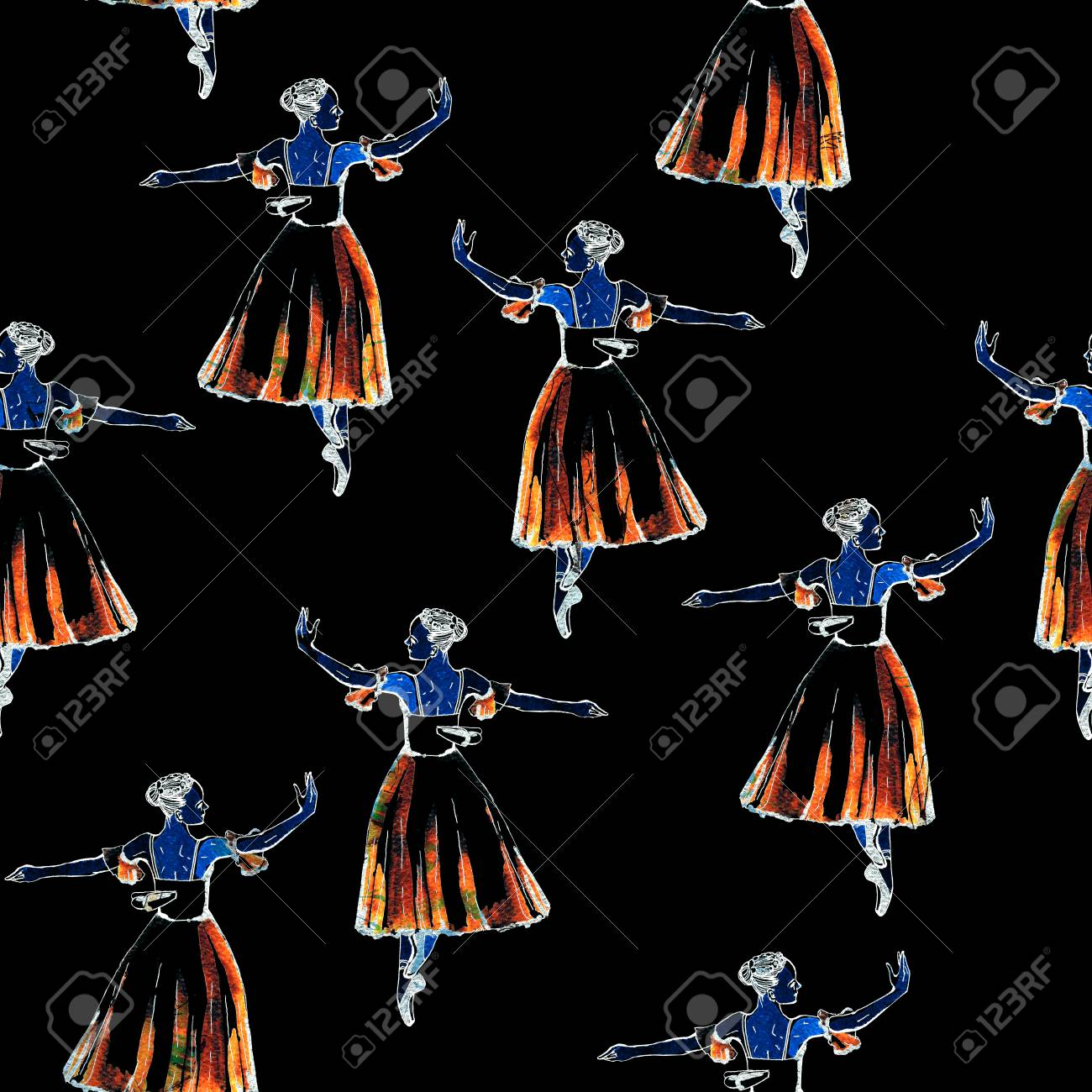 Seamless pattern of ballet dancers royalty free stock photography - Seamless Pattern Of Ballet Dancers In Silfide Costume Freehand Drawing Watercolor Painting Inverted