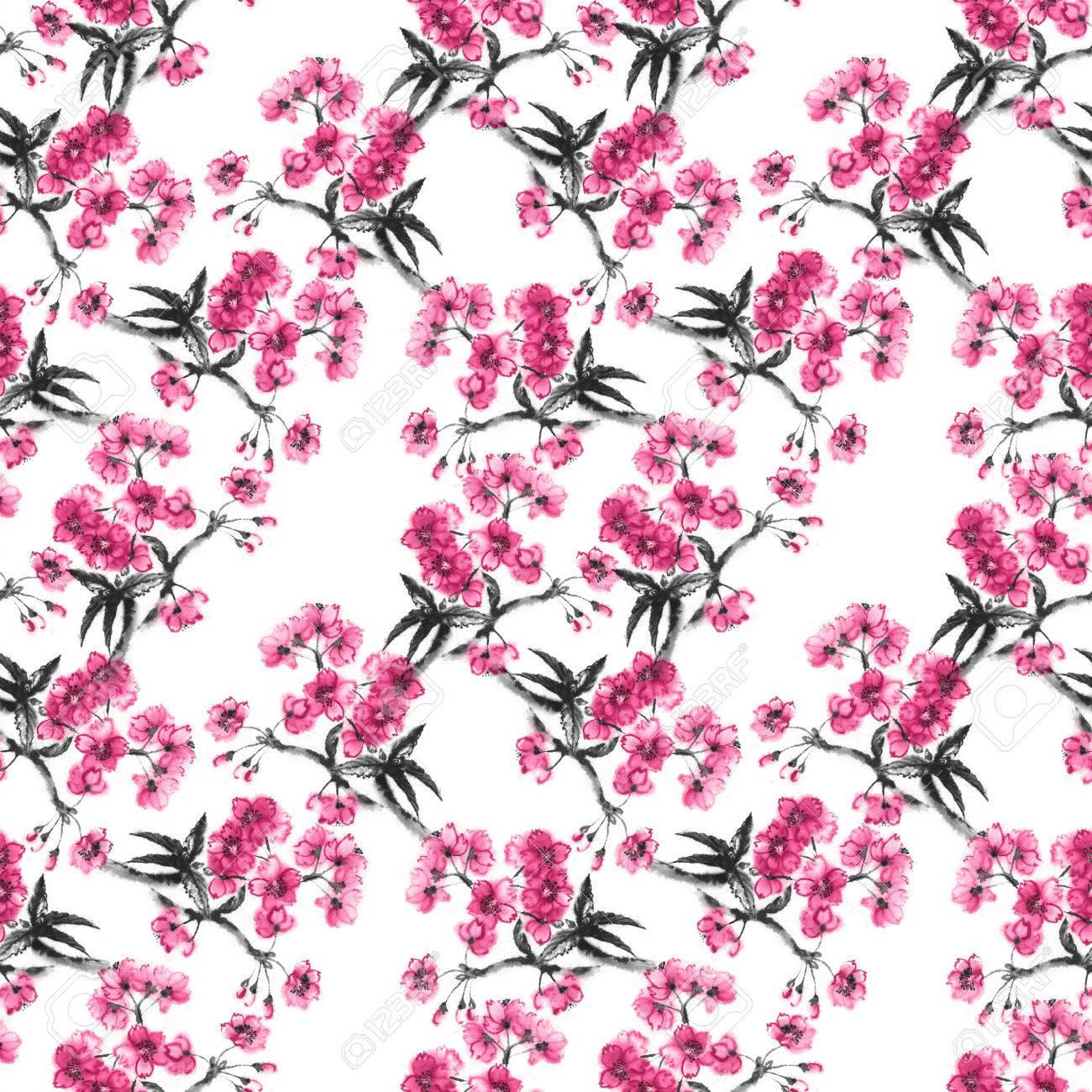 Branches de fleurs de cerisier, fond transparent, peinture à l\u0027encre  orientée à la main, motif sakura style sumi,e.