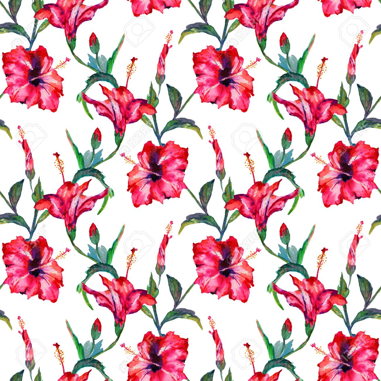 Seamless Floral Pattern Red Tropical Hibiscus Flowers Hand Stock
