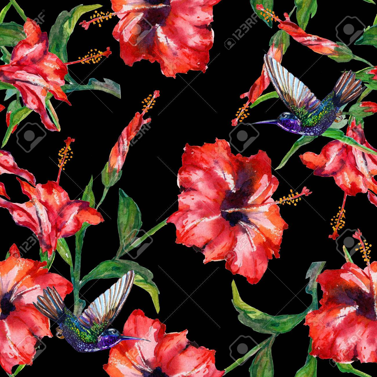 Red tropical hibiscus flowers and hovering hummingbirds seamless red tropical hibiscus flowers and hovering hummingbirds seamless floral pattern hand painted watercolor izmirmasajfo