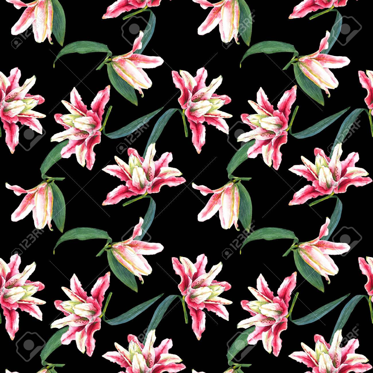 Seamless Floral Pattern Of Double Bloom Tropical Pink Lilies