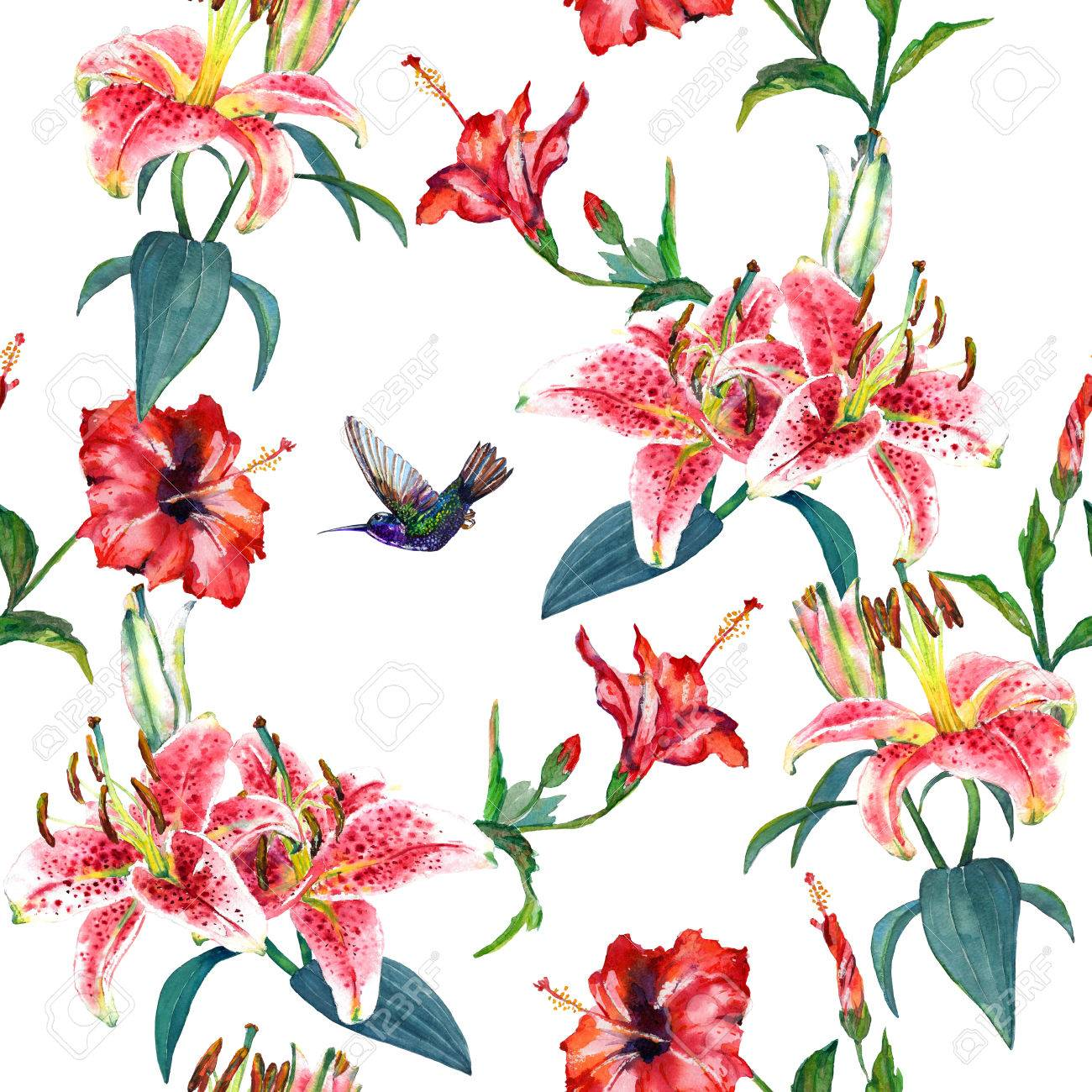 Tropical Pink Lilies And Red Hibiscus Flowers With A Hovering