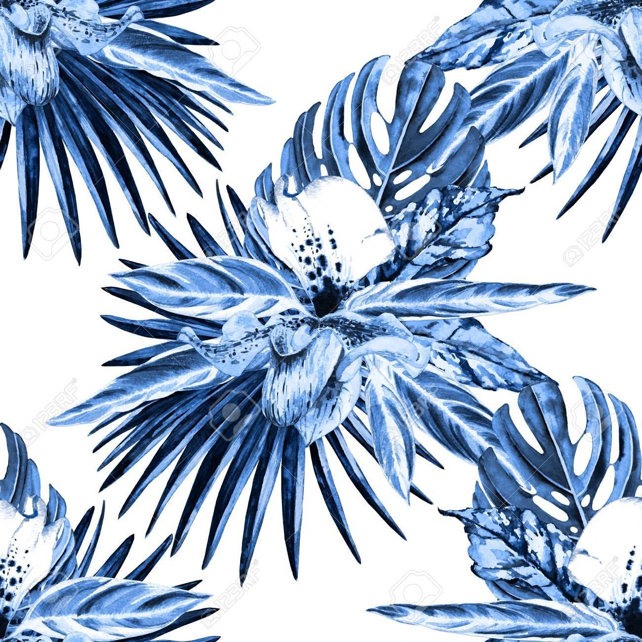 Stock photo tropical floral seamless pattern watercolor exotic leaves monstera fan palm and orchids blue monochrome hues on white background