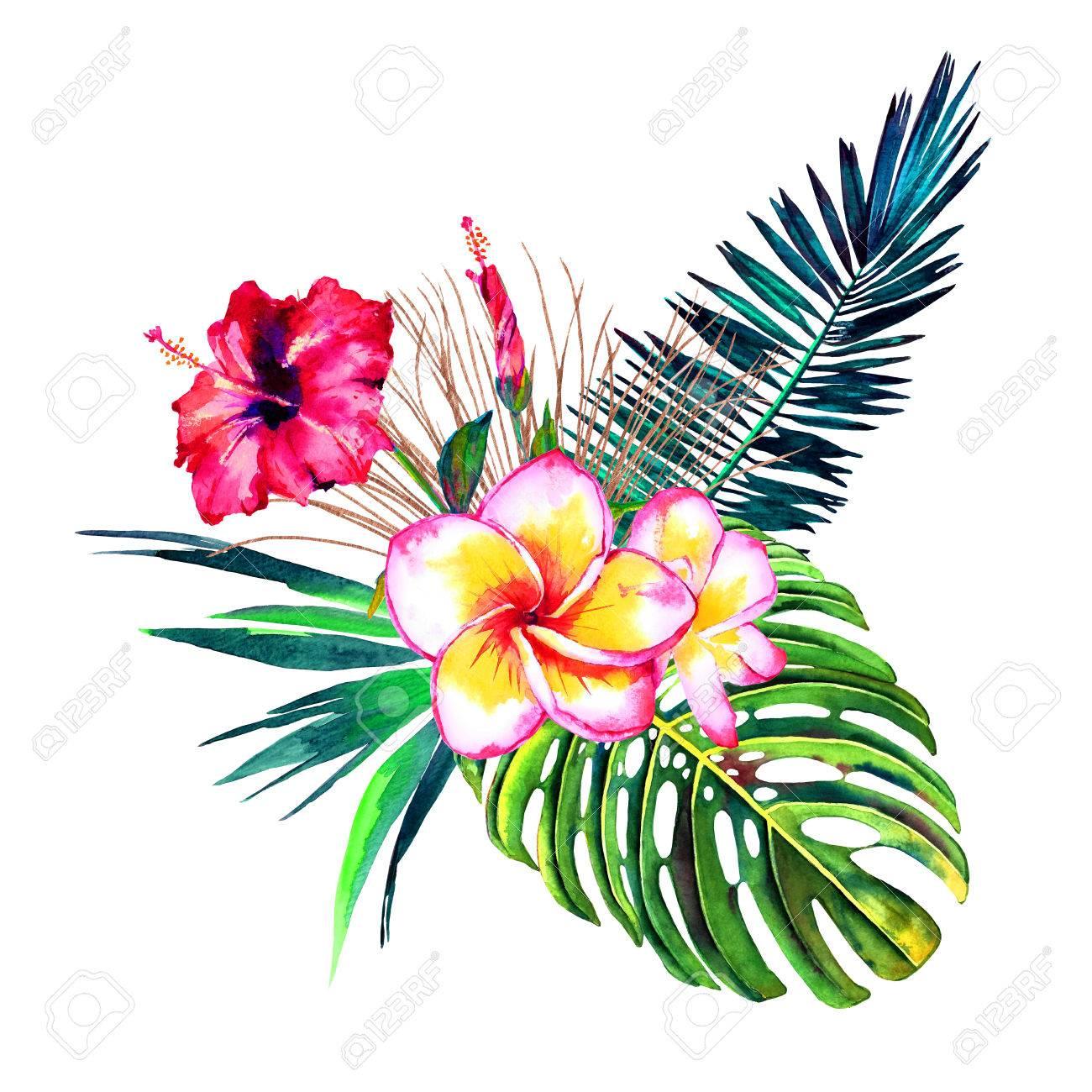 Tropical Bouquet Exotic Flowers Of Hibiscus And Plumeria Rain