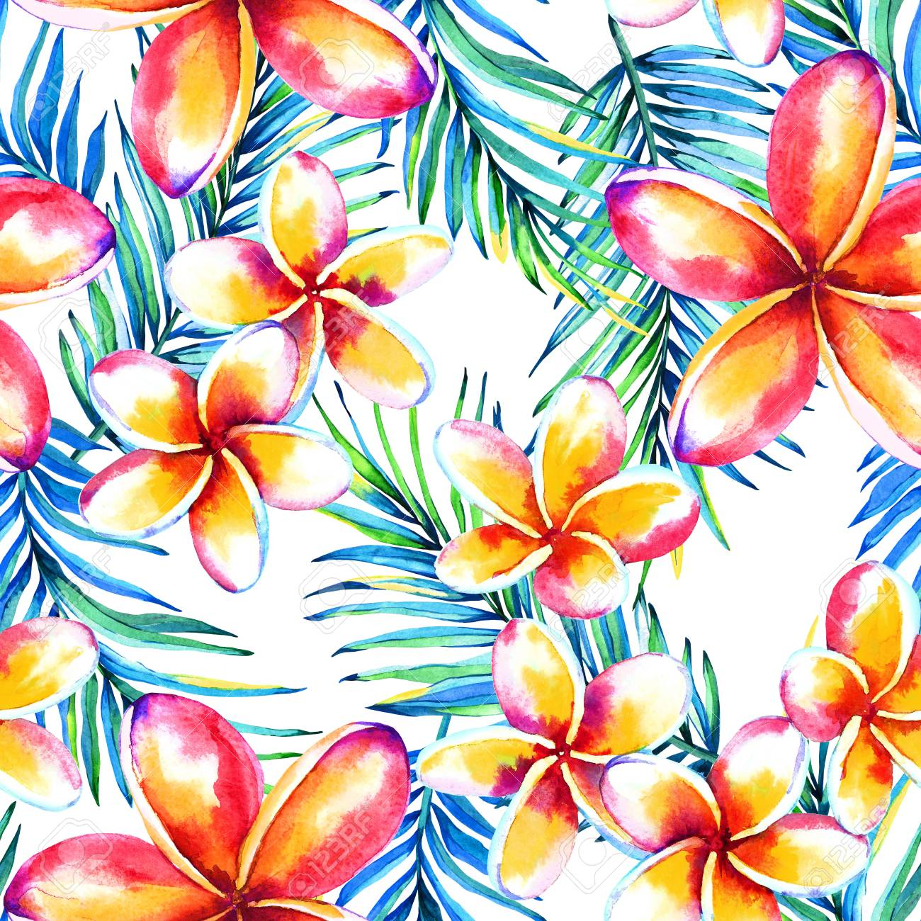 Seamless Tropical Floral Pattern Watercolor Exotic Plumeria