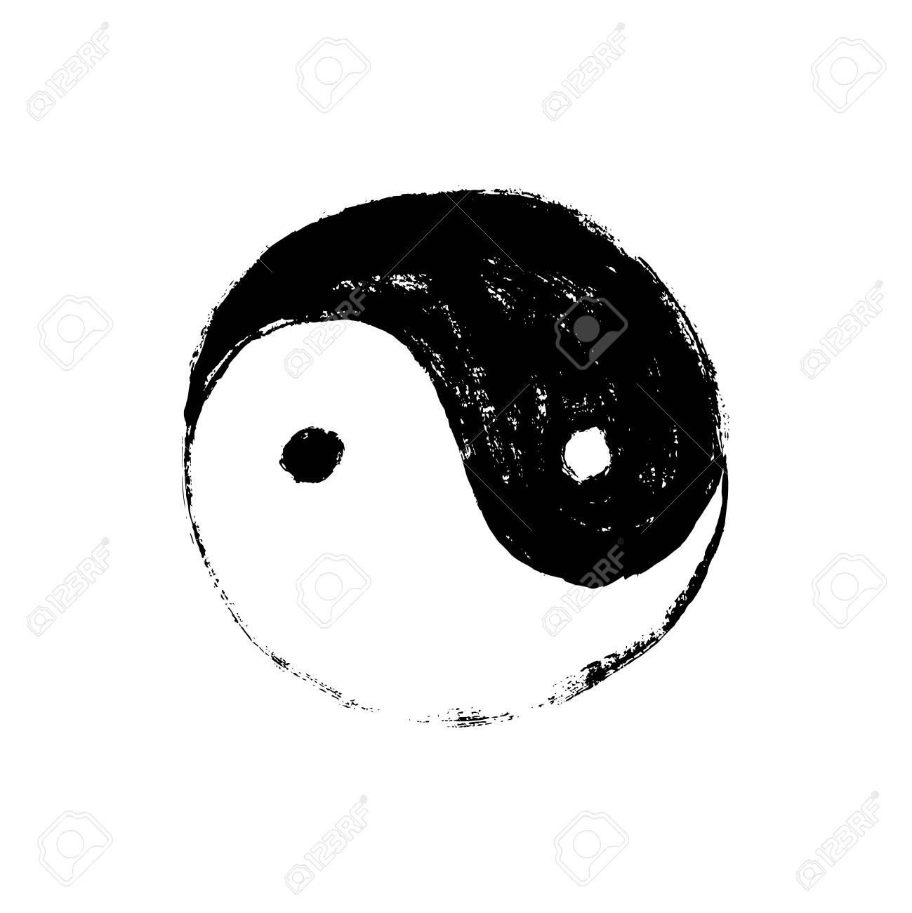 Yin Yang symbol, horizontal. Handmade vector ink painting. - 88075107