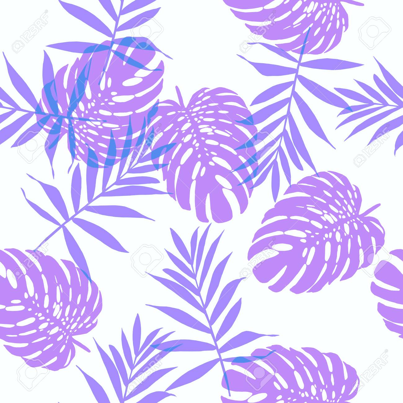 6be6227bafc Seamless floral pattern with beautiful monstera and palm leaves. Jungle  foliage violet and lavender on
