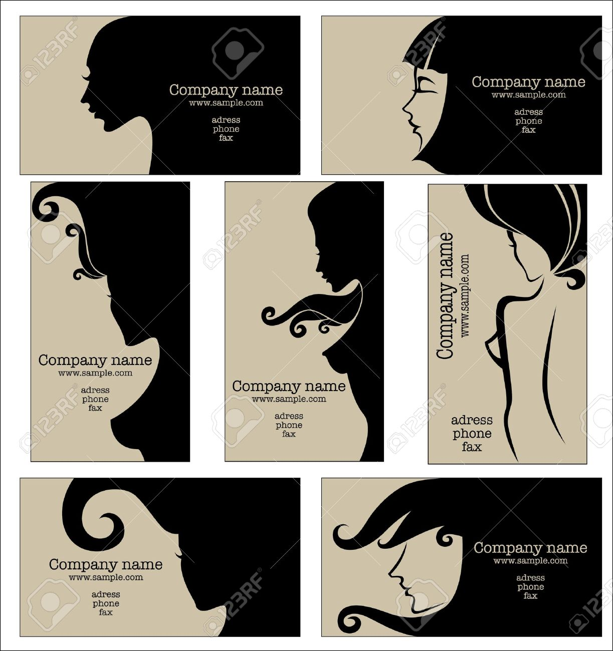 Collection Of Business Cards For Beauty Salon, Hairdressers Or ...